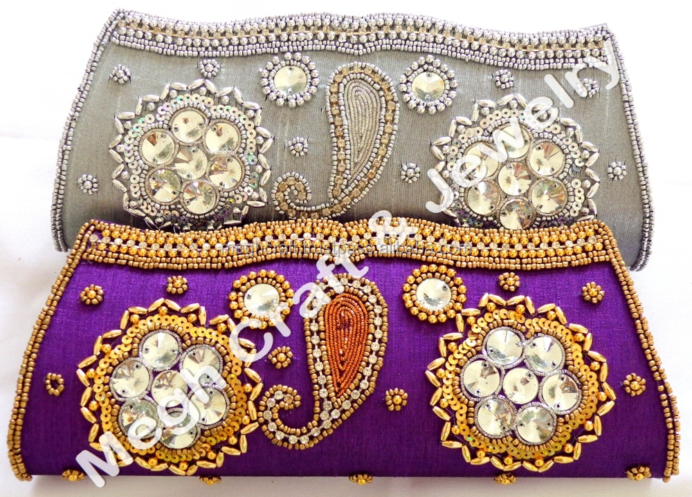 2016 Wholesale Indian Bridal Clutch Purse-party Clutch Purse-indian Beaded Handmade Purse-ethnic ...