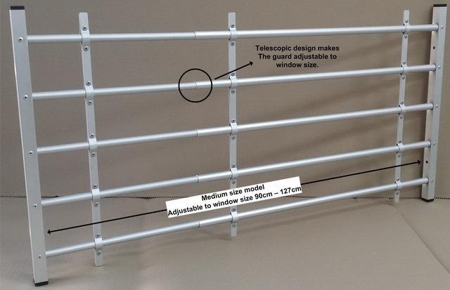Adjustable Aluminum Window Guard 4 Bars Kids Saver Diy Quick And Easy Install Buy Interior