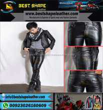 Men Black Leather Pants Slim Fit Fashion pants