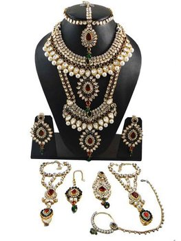 Bridal Necklace Set Indian Wedding Jewellery Maroon Green Kundan Traditional Bride Gift For Her Bns6780