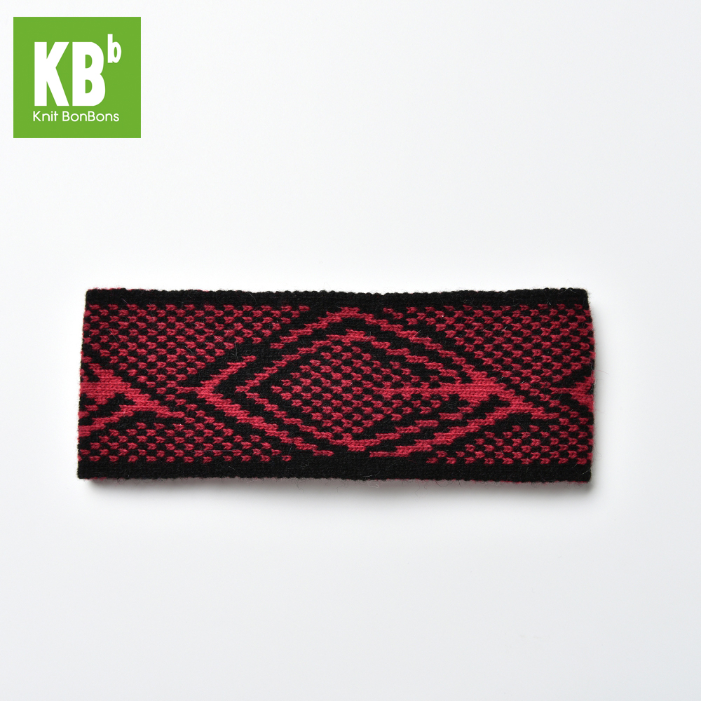 Fashion Custom Made 100% Lambswool Jacquard Winter Women Knitted Headband - Black / Red