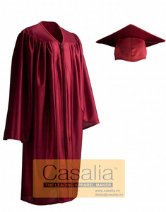 Wholesale Best quality Adult Shiny Maroon (Red) Graduation Gowns and Caps For School