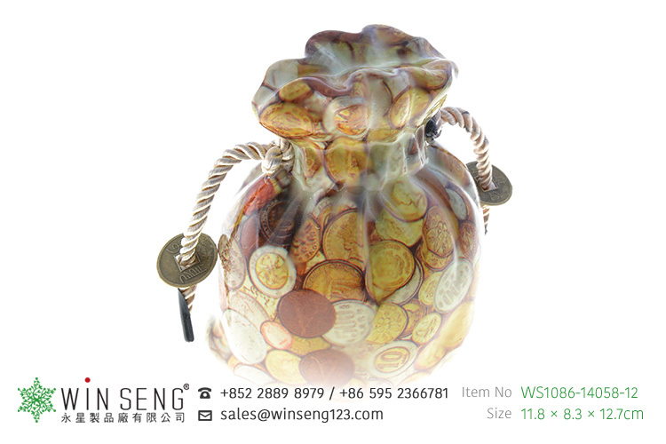 pretty bag shape with coin pattern ceramic piggy bank