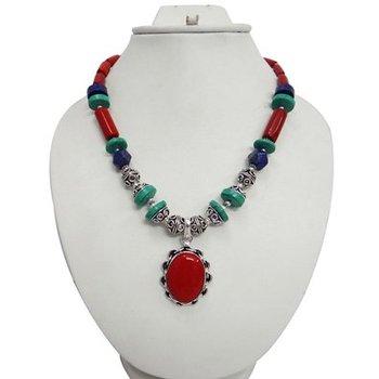 c39d92341f55 CORAL ROJO multi piedra tono plata colgante collar pendiente conjunto  desgaste del partido moda joyería ANS929
