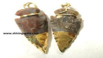 Fancy Jasper Two Tone Arrowhead Pendants