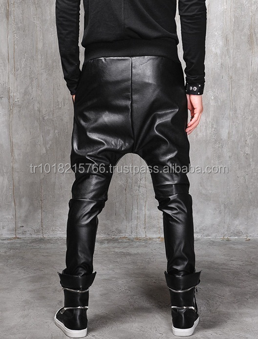 biker drop crotch dark quilted faux leather harem pants