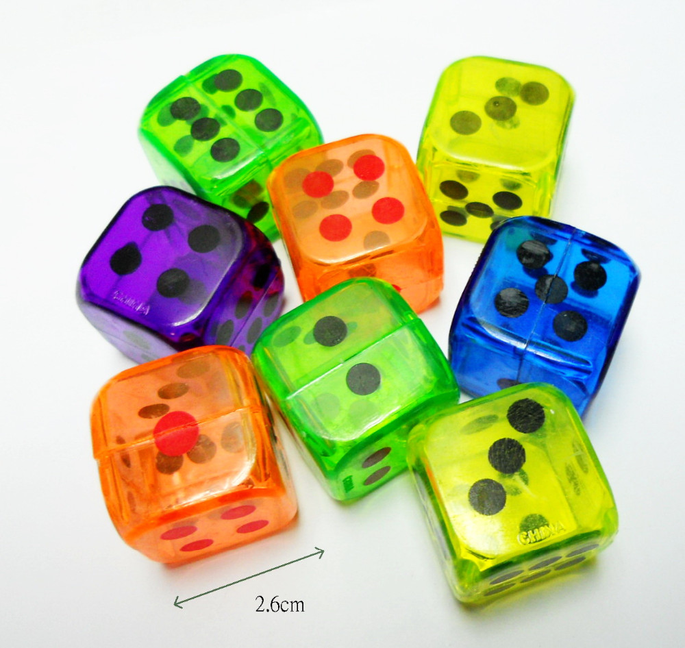 26mm Cube Dice game set Hollow Inside Party Joke Gift Pinata Toys CASINO Home Party Game Toy Use