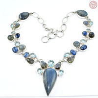 Latest Multi gemstone women necklace offers 925 sterling silver necklace online wholesale silver jewelry necklace