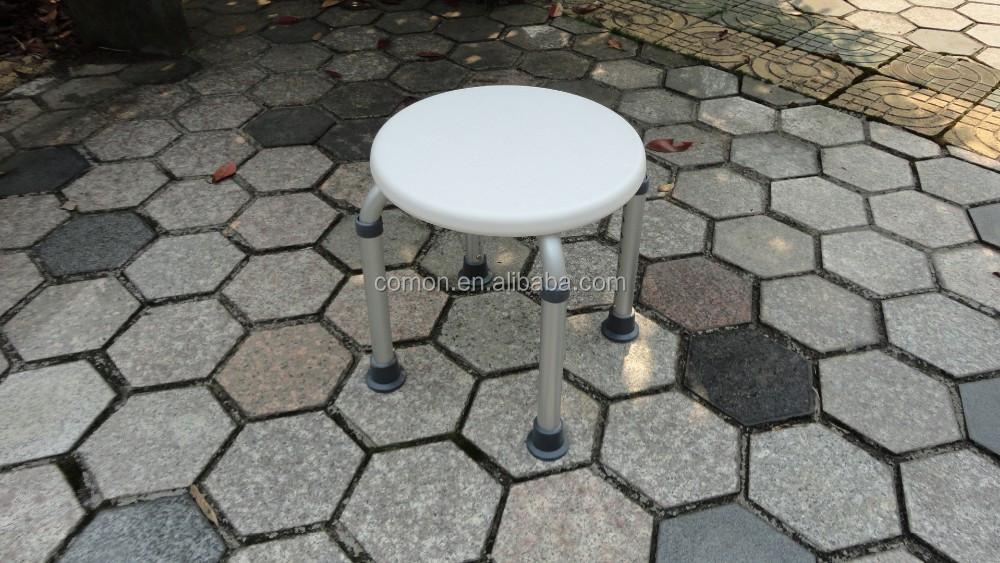 tool gratis montage 4 benen verstelbare ronde douche stoel badkamer veiligheid aluminium douchestoel met
