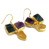 Gold Plated Kyanite_Citrine_Amethyst Earring, Heart Touching Silver Jewelry, Unique Designs Silver Jewellery