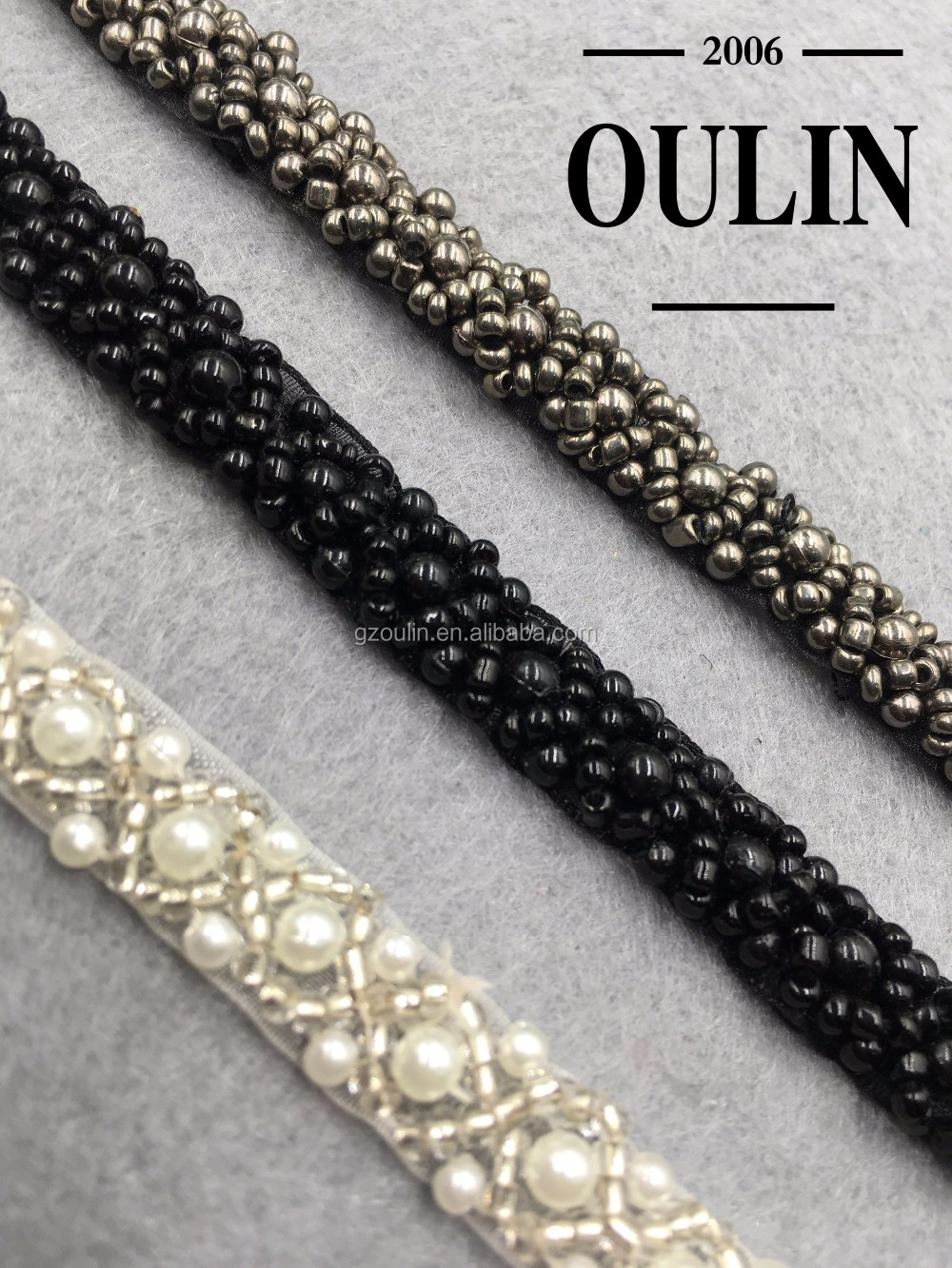 2016 gun color beaded lace chain for wedding dresses decorations