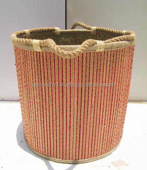 High Quality Best Selling Eco Friendly Round Seagrass Storage Basket With  Rope Handles From Vietnam