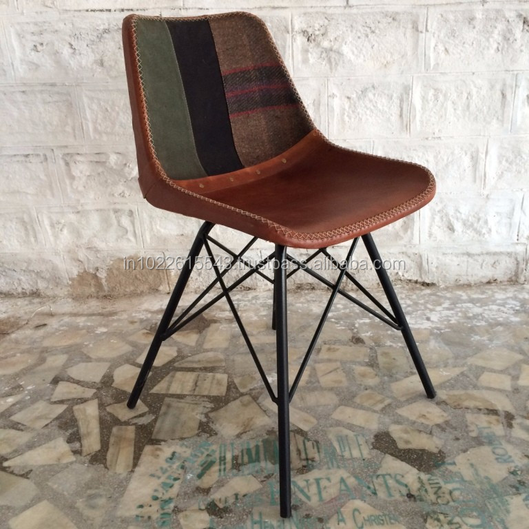 Andrey Set da 2 sedia in pelle e metallo stile industrial ...