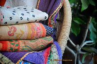 Throw Kantha Quilt Handmade Reversible Quilt vintage Gudari Ralli Hand Stitched Kanth Recycled Sari Blanket
