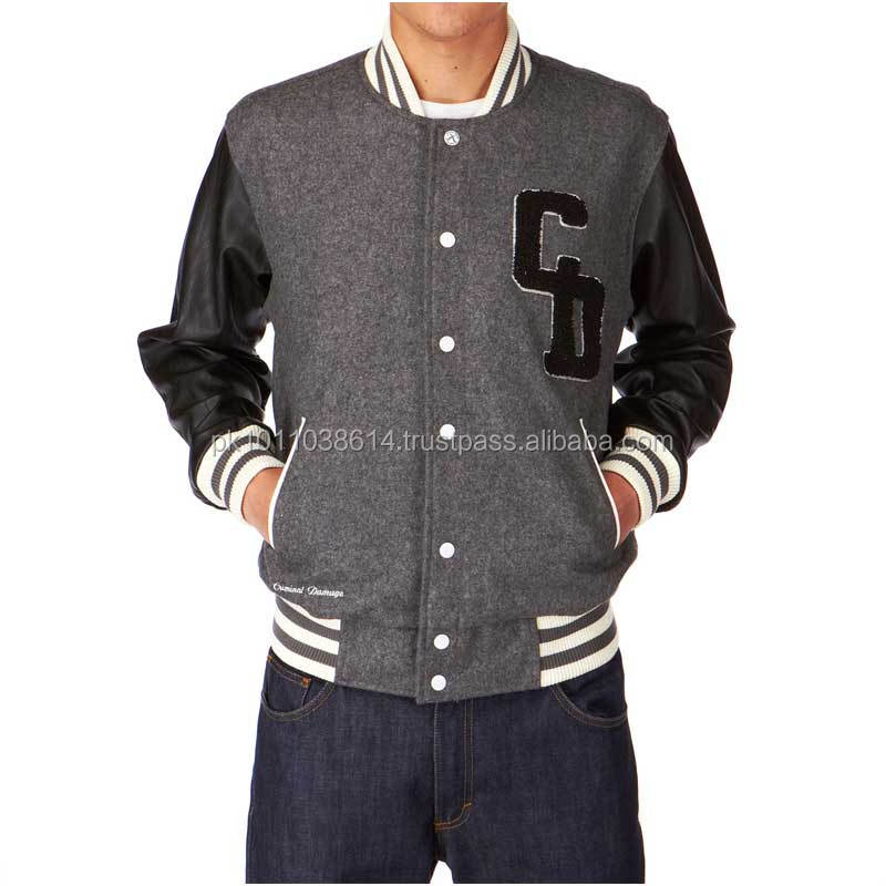 wool body leather sleeve varsity jacket with embroidery logo leather jackets with wool lining
