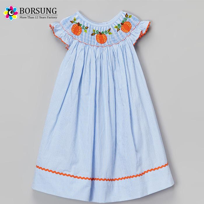 Blue striped smock bishop dress pumpkin embroidery