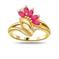 Flower Shape Diamond & Ruby Ring SDR965
