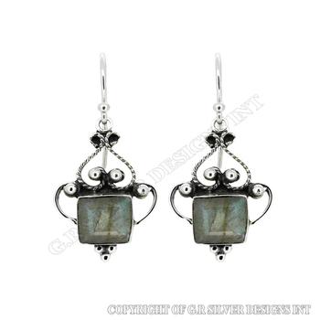 Labradorite Earrings Sterling Silver Whole Hoop Earring Supplies Jewelry Manufacturer