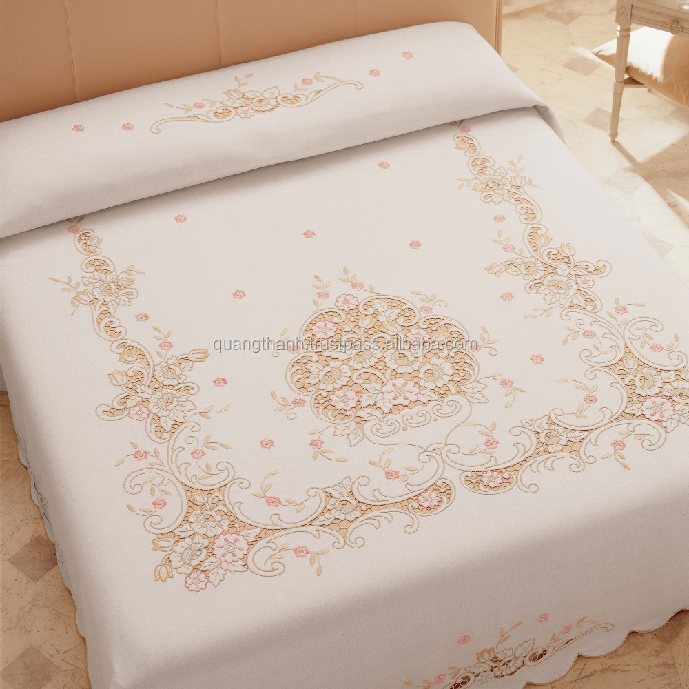 Bed sheet designs hand embroidery - Hand Embroidery Bedding Set Bed Sheet Bed Linen Baby Bedding