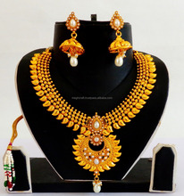 Pakistani Chandelier One Gram Gold Plated Necklace set- one Gram gold Bridal jewellery- Indian Classical Dance Wear Jewelry
