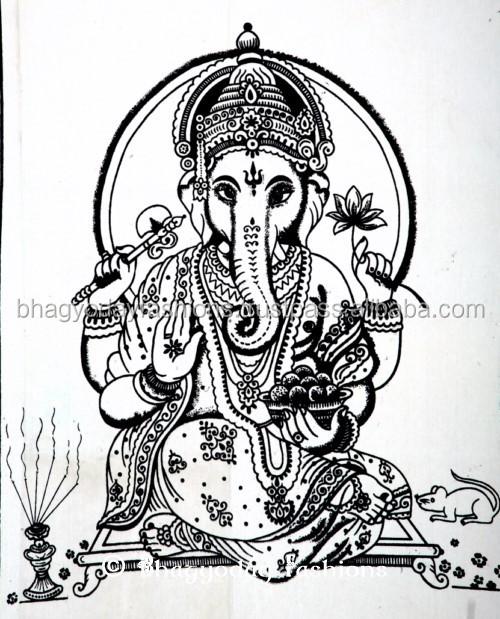 Ganesh Wall Art indian hindu religious god ganesh sequin throw cotton painting