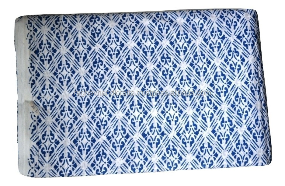 Hand Block Printed Floral Print Cotton Fabrics Handmade Craft Natural Fabric Wholesale