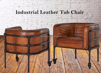 Aged Metal Cuba Brown Chair,Vintage Tub Chair,Vintage Industrial ...