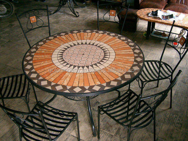[wholesale] Terracotta Mosaic Table Top Patio Furniture   Mosaic Outdoor  Dining Set   Patio