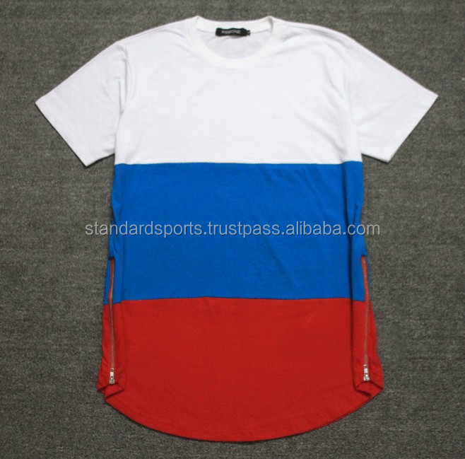 White Blue Red Patchwork 2017 Kanye West Men t-shirts Side Zipper Swag T shirt Streetwear Hip Hop Cotton t shirts