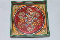 Wooden Square Shape With Painted Rangoli Design Serving Tray
