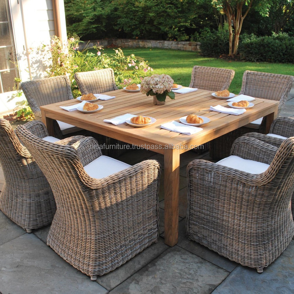 Teak Rattan Dining Chairs And Table Garden Outdoor Furniture