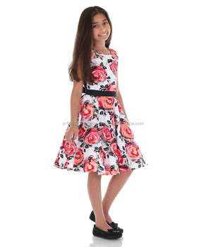 5ab962fa5bf0 Best Quality Rose Flower Printed Cotton Frock For Girls - Buy Girls ...