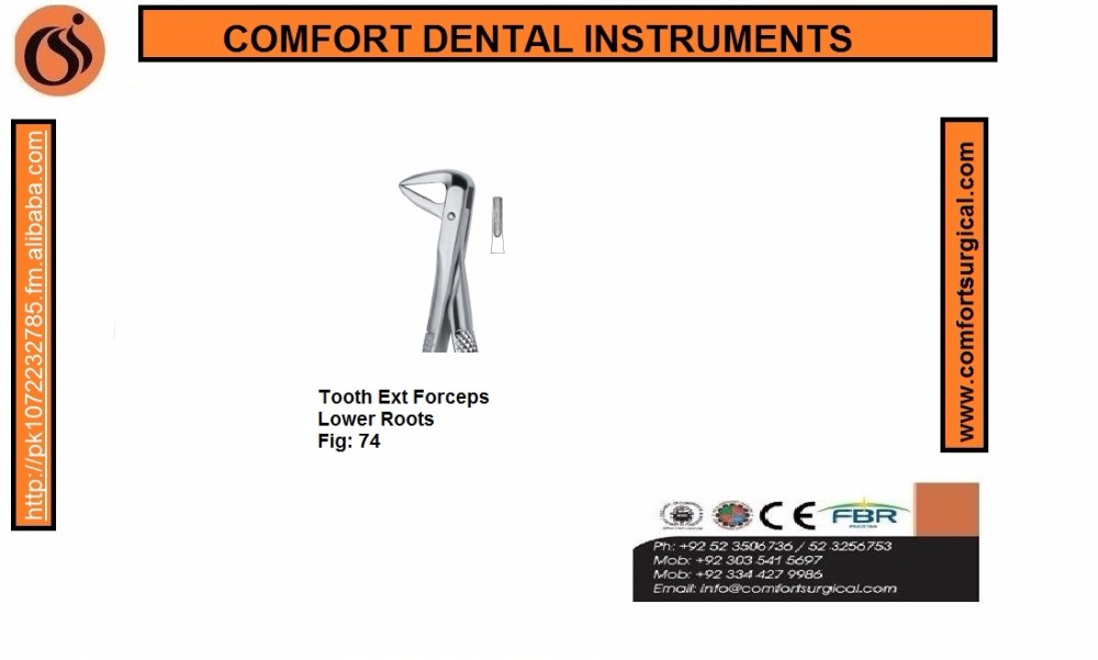 Dental Tooth Extracting Forceps Lower Roots 74 Fig.74 English Pattern