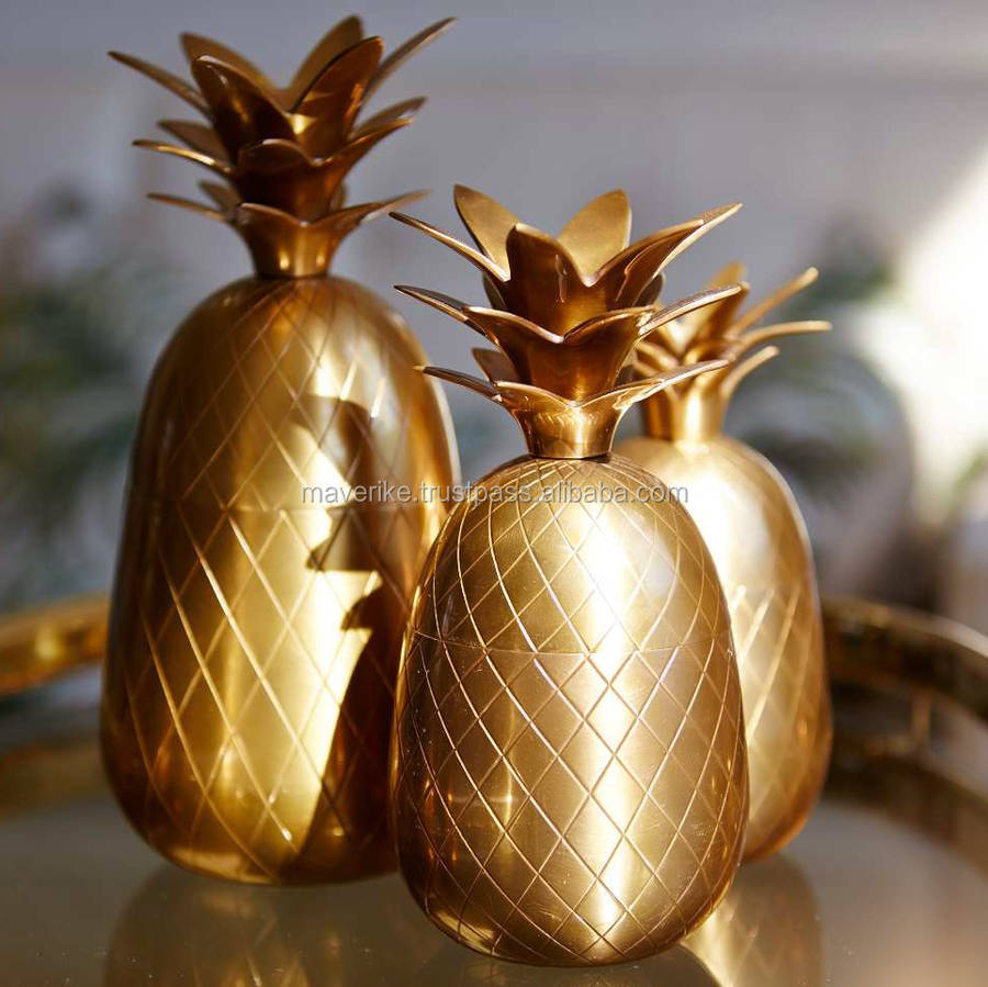 gold copper pineapple cookie jar for home decoration