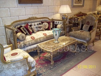Velvet Maroon Cream Ivory Sofa Couch Suite Salon Set Living Room Furniture Italian French
