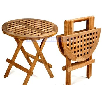 Teak Outdoor Solid Wood Round Picnic Folding Table Small Buy Wood - Small round picnic table