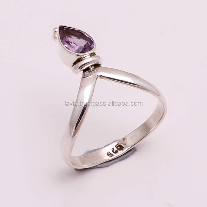 925 Solid Sterling Silver Gemstone Ring, Natural Amethyst silver Jewelry, Jewellery