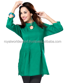 7347331f5a933b Stylish New Ethnic Design Trendy Summer Tunic Girls Rayon Round Collar Neck  Dark Green Color Indian