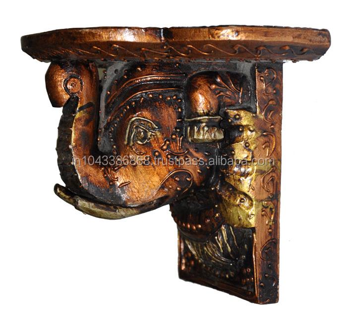 Indian Vintage Home Decorative Fl Design Wooden Hand Carved Wall Shelf Hanging