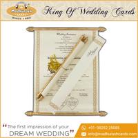 Mesmerizing Scroll Invitation Card With Imported Metallic Sheet Box Envelope