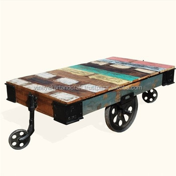 Indian Cart Industrial Coffee Table With Wheels