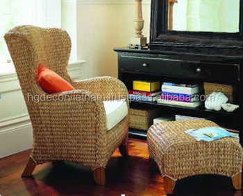 Queen Chair, Water Hyacinth Weaving, Acacia Wood, High Quality Water  Hyacinth Furniture From