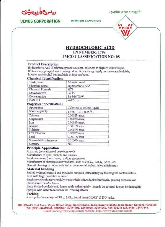 Hydrochloric Acid 34 Buy Hydrochloric Acid Product On Alibaba