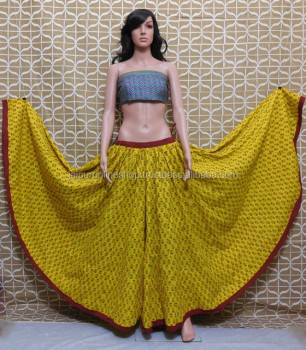 Heavy Indian Designer Skirts / Full Kali Block Print Skirts - Buy ...
