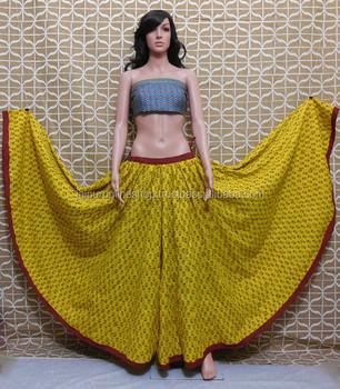 Heavy Indian Designer Skirts / Full Kali Block Print Skirts - Buy ...