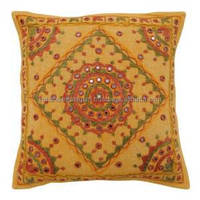 Mustard Pillowcase Home Decor Embroidered Couch Cushion Cover India Gift Art PL15656