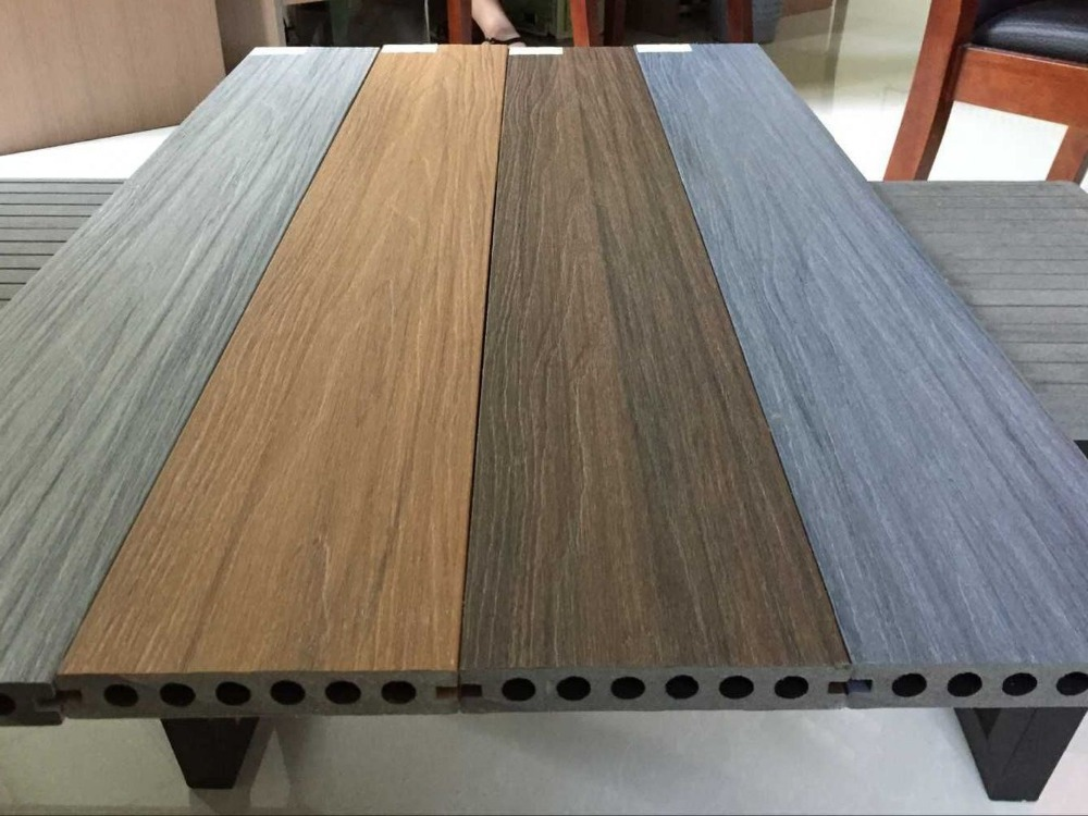 Waterproof outdoor co extrusion wpc decking wood plastic for Timber decking materials