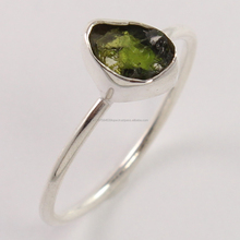 Delicate !! Green Tourmaline Fancy Shape Gemstone Silver Rings, Gemstone Silver Jewelry, Rough Stone Gemstone Rings