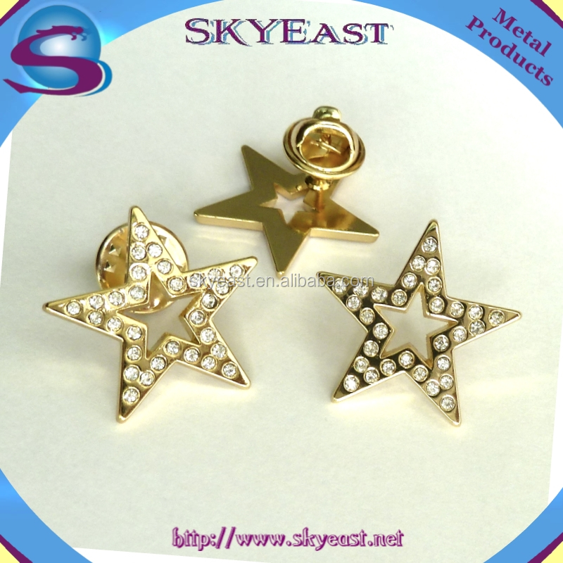 Promotional Shiny Gold Star Shape Rhinestones Badge with Butterfly Clasp