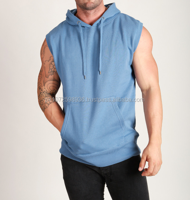 Men's High Quality Pullover Sleeveless Gym Hoodie/custom Plain ...
